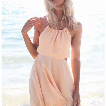 Apricot Sleeveless Halter Dress
