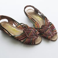 90s Huaraches Strappy Sandals WOVEN Multi Color Boho Chic Beach Shoes Women Size 6