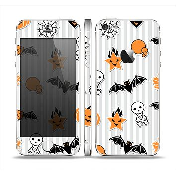 The Halloween Icons Over Gray & White Striped Surface  Skin Set for the Apple iPhone 5