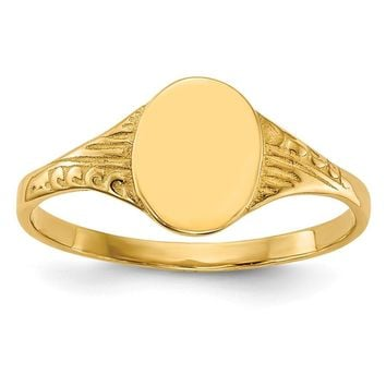 14K Yellow Gold Oval Child Signet Ring
