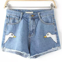 Blue Swan Printed Rip Hem Denim Shorts