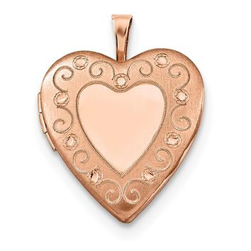 925 Sterling Silver Rose Gold-plated 20mm Diamond Cut Heart Locket