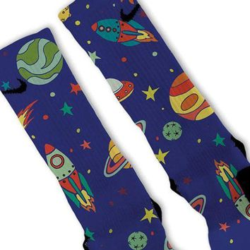 CREYONV space galaxy night fast shipping nike elite socks customized lebrons kobes kd  number 2