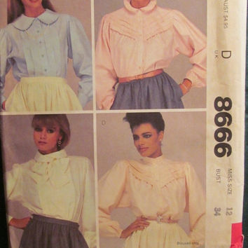SALE Uncut 1980's McCall's Sewing Pattern, 8666! Size 12/Medium/women's/Misses/Stand up Collared Blouses/Back Pleats/long sleeves/Front Tuck