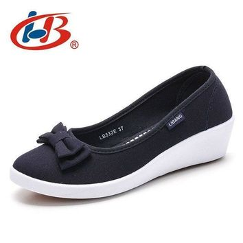 LIBANG High Quality Women Platform Shoes Wedges Autumn Summer Women Pumps Shallow Breathable Shoes Women Canvas Shoes with Bow