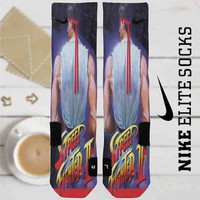 Street Fighter II The World Warrior Ryu Custom Nike Elite Socks