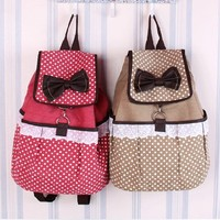 ZLYC Super Cute Lace Canvas Bowknot School Backpack