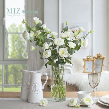 Miz Home 5 Pieces 1 Bud Eustoma Flower Wedding Bud Flower for Bride Home Decor Artificial Flower Silk Flower No Vase