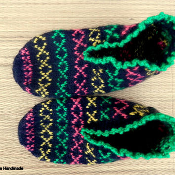 Turkish Anatolian hand knitted women's fair isle warm and unique slippers, slipper socks, house  socks.