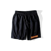 Thrasher 2018 men and women tide fashion trend classic flame logo casual shorts F0570-1 black