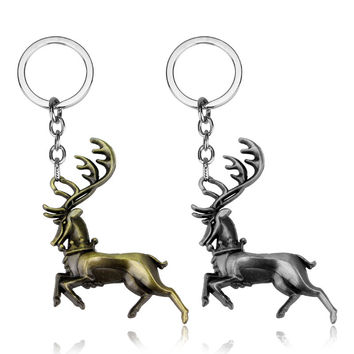 12pcs/lot Zinc Alloy Key Chain Game Of Thrones Ours Is The Fury Baratheon Deer Bronze Tin Vintage Style KeyRing KeyChain