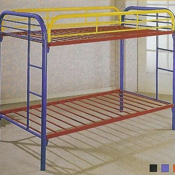 "2"" tube twin / twin bunk bed set available in Black Blue Red White and Rainbow"