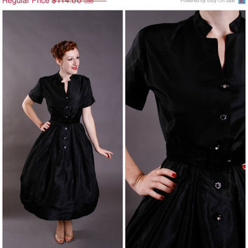 CHRISTMAS SALE - Vintage 1950s Dress - Black Acetate New Look Dress with Fantastic Neckline - Hemlock