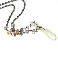Mystic Quartz Necklace Oxidized Metal Necklace Crystal Necklace Long Necklace Boho Necklace Crystal Jewelry Boho Jewelry Fall Style