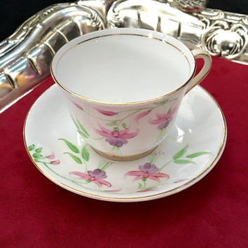 Vintage Phoenix Tea Cup and Saucer, Teacup Set, Hand Painted Vintage Tea Cups, High Tea, Bleeding Hearts, Pink Tea Cup