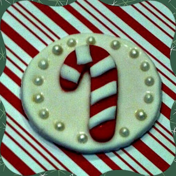 Christmas Candy Cane Fondant Cupcake Toppers. Set of 12 (one dozen)