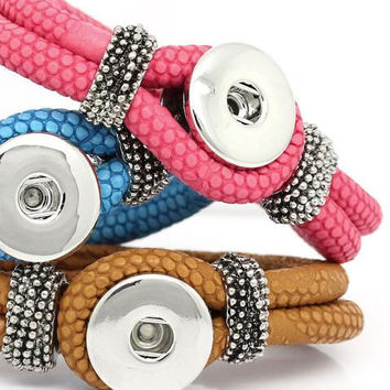 Good quality PU snap button bracelet, 21cm   OEM, ODM PU207  (fit 18mm 20mm snaps)