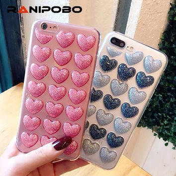 3D Love Hearts Glitter Powder Bling Cover Phone Case For iphone 7 7 Plus 6 6S Plus Luxury Clear Fashion Soft TPU Back Cover
