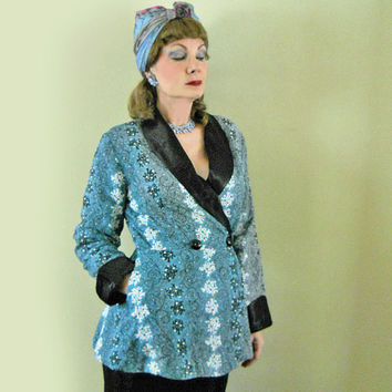 Vintage Loungewear - 1940s Quilted Jacket - 40s Bed Jacket