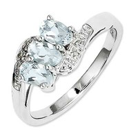 Oval Aquamarine and Diamond Accent Three Stone Ring in Sterling Silver