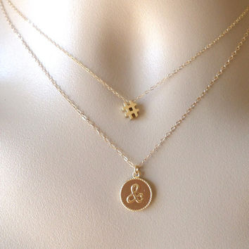 Gold # Necklace - Number Sign Necklace - Gold Pound Necklace - Tiny Charm Necklace - Personalized Necklace -Christmas Gift