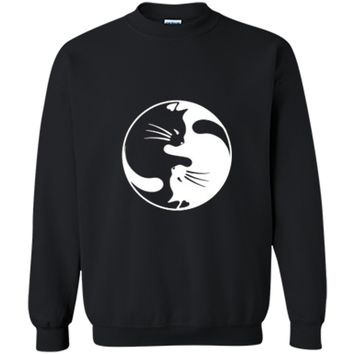 Black White Cat Yin and Yang  for Women and daddy Printed Crewneck Pullover Sweatshirt