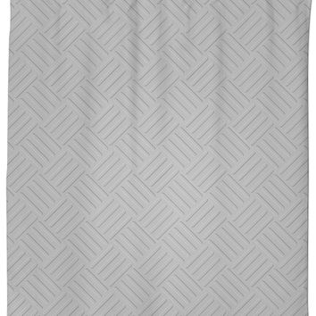 Corrugated metal sheet plate pattern, silver steel like effect shower curtain