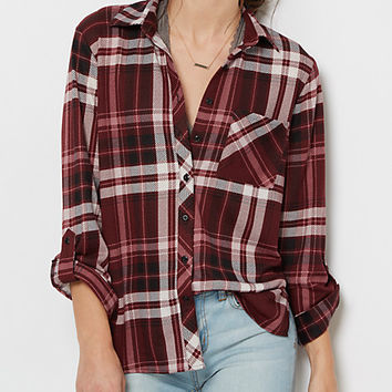 Dark Purple Plaid Button Down Shirt