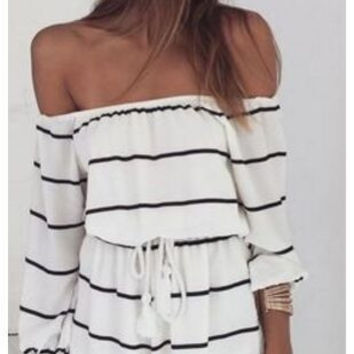 Fashion Off Shoulder Stripe Strappy Mini Dress