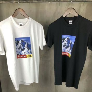 Supreme & The North Face Co-brand Fashion Brand Snow Mountain Print T-Shirt