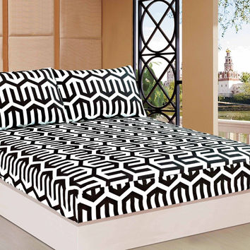 Tache 2-3 PC Sophisticated Condo Monochrome Black White Fancy Fitted Sheet Set