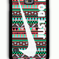 Samsung Galaxy S5 Case - Rubber (TPU) Cover with Nike Just Do It on Aztec Rubber Case Design