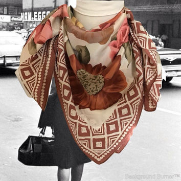 Vintage Silk Echo Floral Scarf  Square Scarf Flowers, Roses and Geometric Border with Rolled Edges Burnt Orange, Brown Pink and Olive