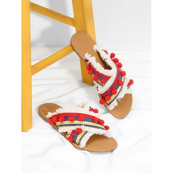 Criss Cross Flat Sandals With Pom Pom Red