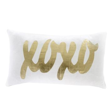 XOXO Gold Foil Accent Pillow