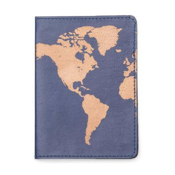 Globetrotter Leather Passport Cover - Blue Day-First™