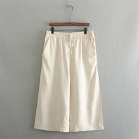 Korean Summer Women's Fashion Cotton Linen Pants Capri