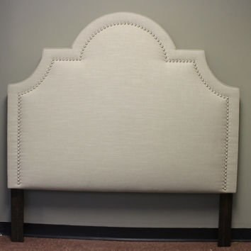Custom made Upholstered 'Sunrise' Headboard with hand applied decorative nails - queen size - DELUXE Series