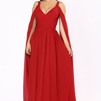 Long Relationship Chiffon Dress - Burgundy