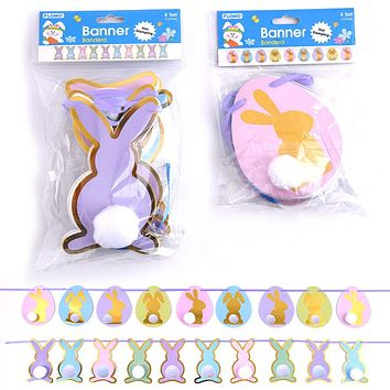 4' Easter Bunny Banner with Pom Pom Tail and Hot Stamping Embellishments - 48 Units