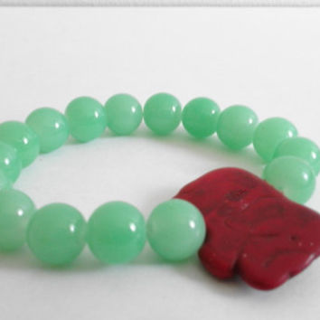 Round Jade Green Beads with a Flat Burgundy Elephant Statement Bead Stretchy Beaded Bracelet