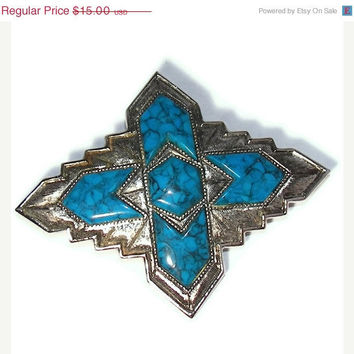 SALE 10% OFF Vintage SARAH Coventry Silver and Simulated Turquoise Brooch Pin South Western South of The Boarder