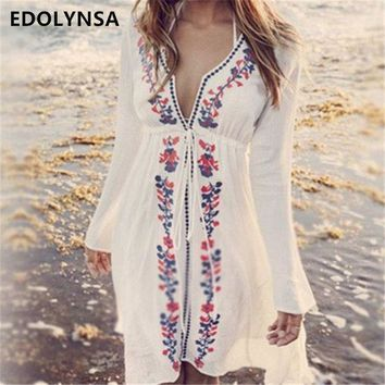 PEAPGC3 New Arrivals Beach Cover up Embroidery Vintage Swimwear Ladies Tunics Kaftan Beach Dress Beach Wear Women Robe de Plage #Q17