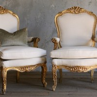 Vintage Gilt Louis XV French Style Armchairs Pair