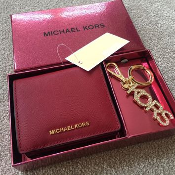 MICHAEL KORS CHERRY RED LEATHER WALLET & DIAMANTÉ KEYCHAIN BAG CHARM BNIB