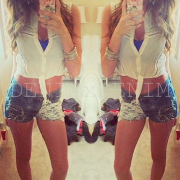 High Waisted Cut Off Shorts Boho Festival Clothing Low Rise Denim Shorts White Lace Crochet Jeans Hipster Tumblr