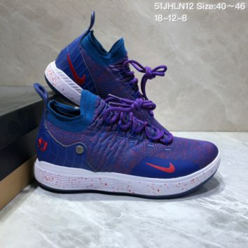 HXCC N676 Nike Zoom KD11 Mid XI Men Actual Baketball Shoes Purple Red Blue