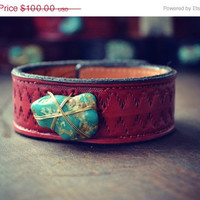 ON SALE LUX Bohemian 1 Inch Stacking Recycled Stamped Red Leather Raw Natural Turquoise Gemstone Cuff