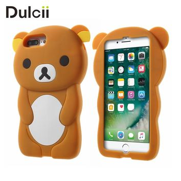 DULCII Cute i7plus Silicone Case Soft 3D Rilakkuma Shell for Apple iPhone 7 Plus iPhone7Plus Lovely Bear Back Cover