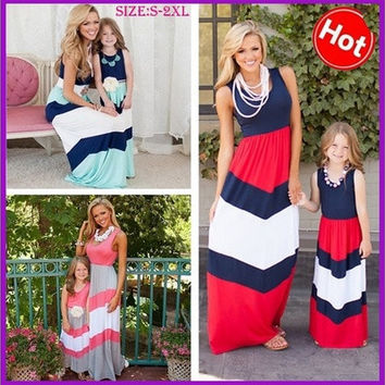 Mommy and Me Matching Dresses 2016 Summer Mother and Daughter Matching Cotton Striped Outfits Chervon Dress Family Matching Clothes [9221446660]